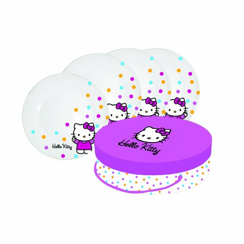 Paperproducts Design Hello Kitty Porcelain Plates, 8.2-Inch, Set Of 4