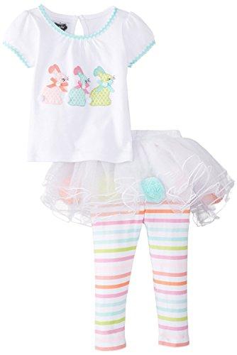 Mud Pie Little Girls' Bunny Skirt Set, Multi, 3T front-545356