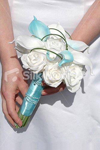 blanc-et-bleu-canard-calla-lily-en-mousse-rose-mariage-bouquet