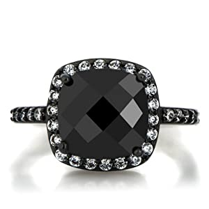 3.8ct Cushion Cut Simulated Black Diamond Engagement Ring