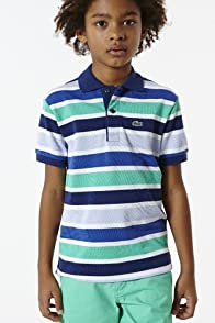 Boy's Short Sleeve Multi Stripe Pique Polo