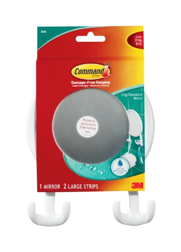 Command 17606B Fog Resistant Mirror, Water-Resistant Strips, 1 Mirror 2 Strips