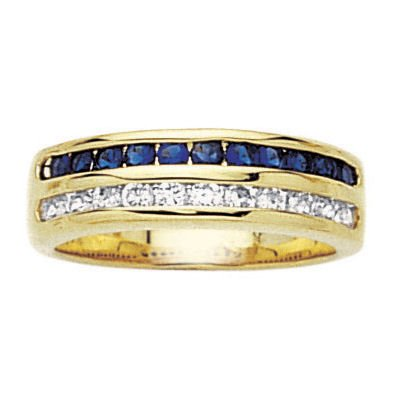 18K Gold Plated Blue & White Cubic Zirconia Half Eternity Wedding Band Ring - Size 9