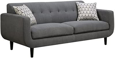 """Coaster Stansall 505201 83"""" Sofa with Accent Pillows Retro Mid Century Design Curved Profile Pocket Coil Seating Kiln Dried Hardwood Frame and Fabric Upholstery in Grey"""