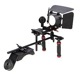 Koolertron Hand Grip Handle+Shoulder Mount Rig+Follow Focus+Matte Box Sunshade +Adjust Platform For DSLR Canon 5D2 60D 7D Nikon And So On