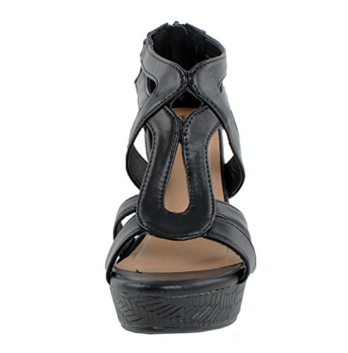 JJF Shoes Lindy-1 Black Faux Leather Gladiator Strappy Dress Platform High Wedge Sandals-8