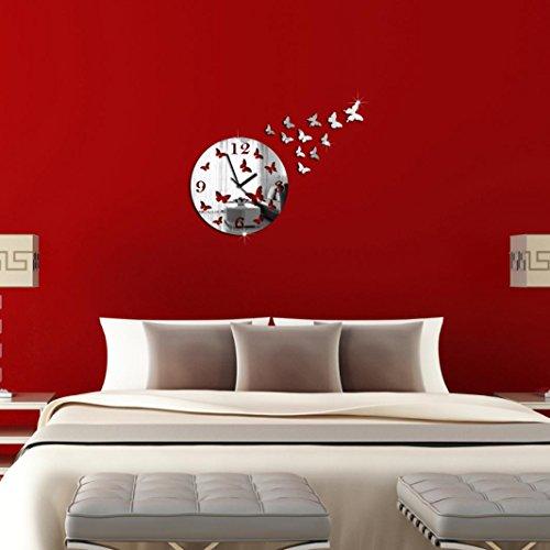 eenkula Bricolage Miroir Mural D'horloge Décalcomanies 3d Papillons Stickers Muraux Salon Maison Décoration Design Moderne
