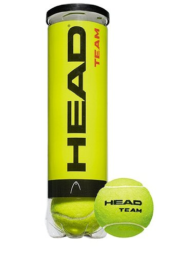 Head Team 4 Tennis Balls, Yellow