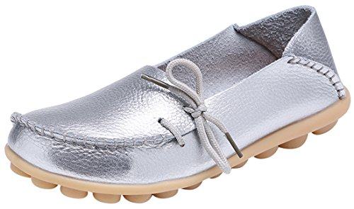 Serene Womens Leather Cowhide Casual Lace Up Flat Driving Shoes Boat Slip-On Loafers (7B(M)US, Silver)