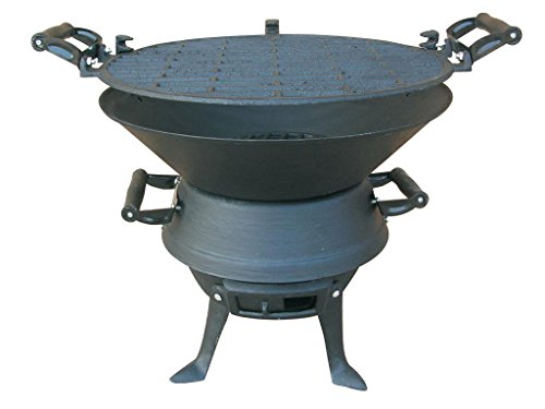 Firepit Bbq Fire Basket Outdoor Barbeque Grill Charcoal Cast Iron Barbecue Stand Bowl Camping Picnic Outfire Wood Log Burner Heater Outdoor Stove Garden Dining