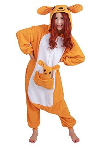 Honeystore -  Pigiama due pezzi  - Stampa animali - Maniche lunghe  - Donna Arancione Känguruh ohne Schuhe L(Height: 168-178cm/66-70in)