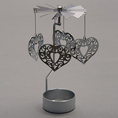 Puckator SPIN12 - Portavelas con decoración giratoria (metal), diseño de corazones