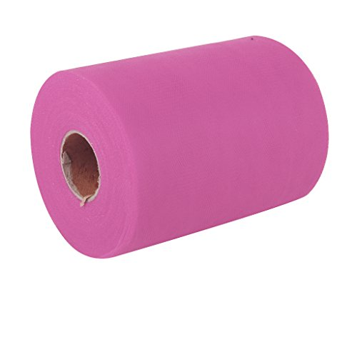 6-100-Yards-Rollo-de-Tul-Papel-Decoracin-Regalo-para-Boda-Rosa-Caliente
