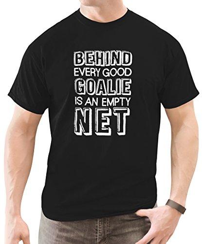 Zone Apparel Men's Behind Every Good Goalie Saying T-Shirt Black Medium