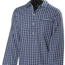 Men's Luxurious Check Nightshirt - Navy and Yellow