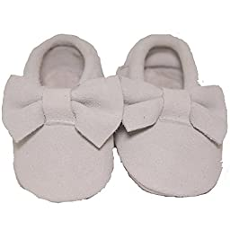 Baby Conda Handmade Slate Suede Bow Baby Moccasins * 100% Genuine Leather * Soft Sole Slip on Baby Shoes for Boys and Girls * 100% Money Back Guarantee Size 12 - 18 Months
