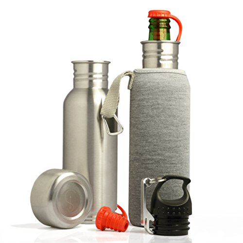 Stainless Steel Beer Bottle Cooler/Koozie, NEW Design Prevents Leaks + Bottle Stopper + Insulated Bag + Bottle Opener + Carabiner - 12 OZ Bottles- Keeps Beer Ice Cold By Smart Ideas for Life (Gun Beer Cooler compare prices)