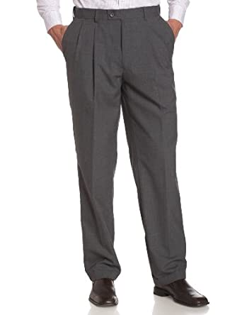 Louis Raphael LUXE Men's 100% Wool Pleated Hidden Extension Dress Pant,Med Grey,30x30