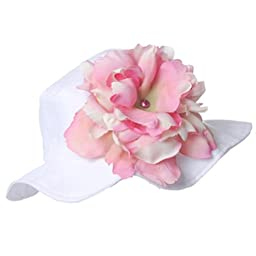 Melondipity Girls Bahama Beach White Baby Sun Hat with Pale Pink Peony Flower (12 Months - 2T)