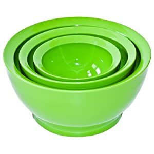 Calibowl Big Sur Stack Set of 3 Plastic Mixing Bowls, Green