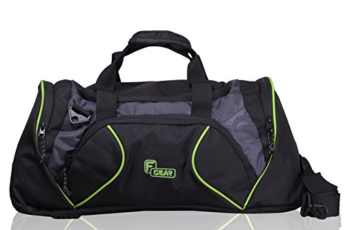 F Gear Metro 31 liter Travel Duffle bag Cum Gym Bag (Black Grey Green)  available at amazon for Rs.799