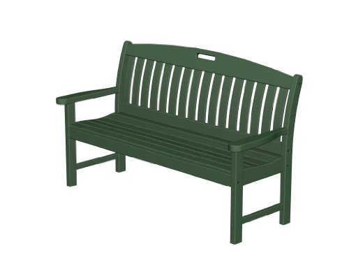 Recycled Plastic Nautical 60″ Bench by Polywood Frame Color: Hunter Green