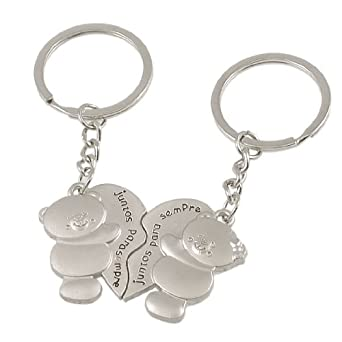 Pair Magnetic Metal Bear Shape Dangling Couples Keyring Key Chain