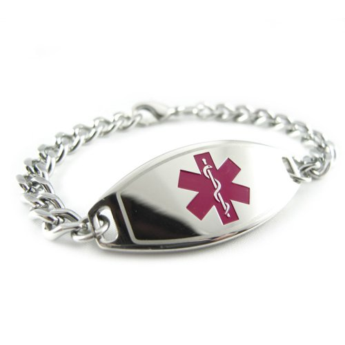 Myiddr - Alzheimers Medical Id Bracelet, Purple, Pre-Engraved
