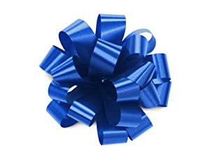"""Set of 20 ROYAL BLUE Pom Pom, Pull Bows, 5"""" Wide Satin for Gifts, Packages, Boxes, Birthdays, Anniversaries, Parties and Holidays Such as Christmas Wrapping"""
