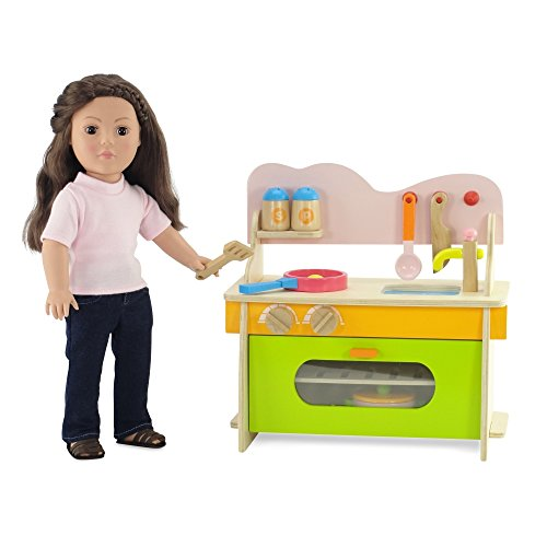 18 inch doll furniture kitchen set with oven stove for Doll kitchen set