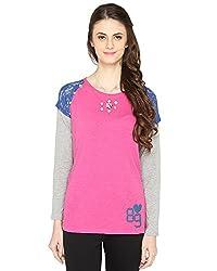 Bedazzle Solid Women's Round Neck Pink Top