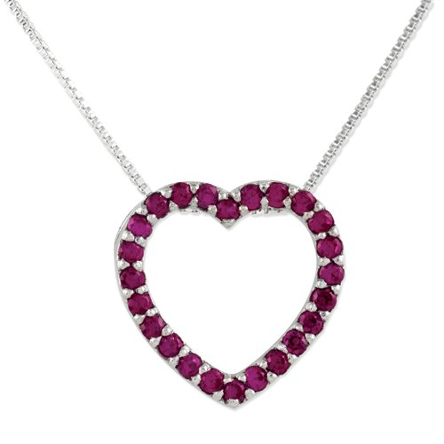Sterling Silver Red CZ Heart Slide on 18 Chain Necklace