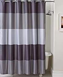 Encore Stripe Shower Curtain Grey Horiz and Vert Stripe 72x72 Inch