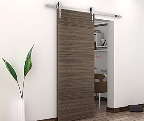 BD-FSS # Satin Nickel Brushed Stainless Steel Sus304 Modern Barn Wood Sliding Door Hardware Track Kit for Storage Room, Laundry Room, Master Bathroom, Walk-in Closet, Office, Shutters, High Mobility Areas (Single Door 5FT /1500mm)