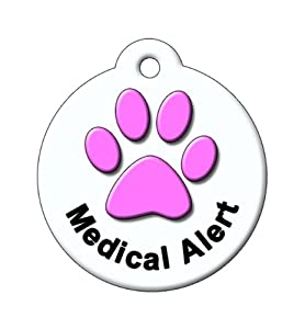 BARKCODE Medical Line QR Code Pet ID Tag, Itty Bitty Paw, White and Pink