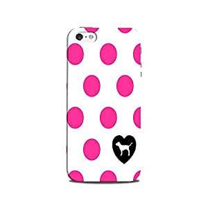 Mikzy Pink Dot On White Pattern Printed Designer Back Cover Case for Iphone 5/5S (MultiColour)