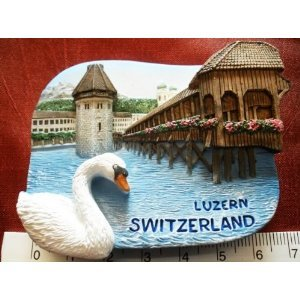 Lake Lucerne Luzern Switzerland Swiss Swan High Quality Resin 3D fridge Refrigerator Thai Magnet Hand Made Craft