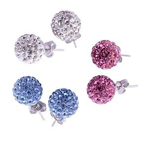 Kadima Women Earring Jewelry Lots of 3 Pairs 10MM Stainless Steel Shamballa Swarovski CZ Crystal Ferido Disco Ball Ear Studs Assorted Colors