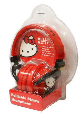 Hello Kitty Red Foldable Stereo Headphones