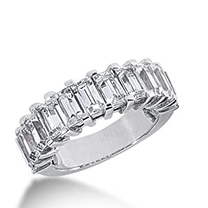 950 Platinum Diamond Anniversary Wedding Ring 11 Emerald Cut Diamonds 3.63 ctw. 354WR1507PLT - Size 10