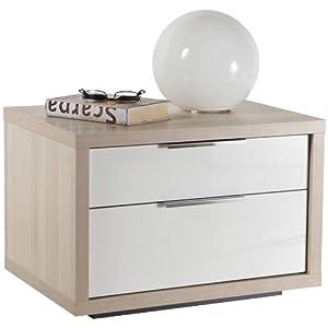 Comodino moderno camera due cassetti frassino laccato bianco CT5088 L60h42p45   recensione Voto