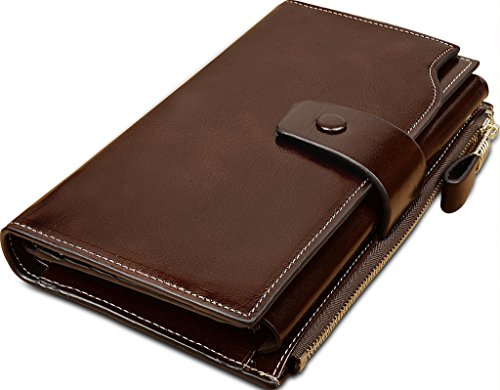 Yahoho Women's Large Capacity Luxury Wax Genuine Leather Wallet With Zipper Pocket Coffee Brown