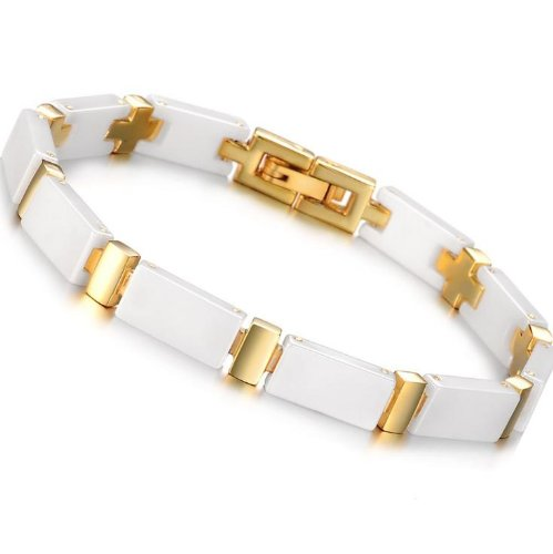 OPK South Korea Style Gold Plated Titanium Stainless Steel Ceramics Bracelet Bangle Best Gift!