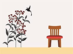 Asmi Collections Pvc Wall Stickers Beautiful Plants Flowers Bird