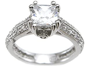 Princess Cut Cubic Zirconia CZ Promise Engagement Ring for Women Size 7
