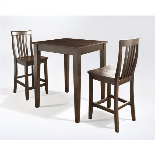 Crosley 3 Piece Pub Dining Set With Tapered Leg And School House Stools Vint