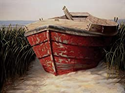 28W x 22H Red Boat by Karl Soderlund - Stretched Canvas w/ BRUSHSTROKES