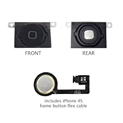 Iphone 4s Dock Connector USB Charging Port flexcable Black Microphone and Home button Connector already installed incl. 2 x screwdriver MMOBIEL