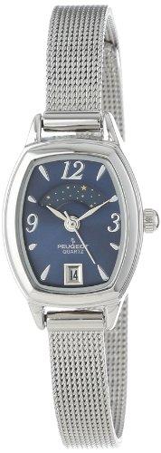 Peugeot Women's 712BL Silver-Tone Mesh Bracelet Moon Phase Watch