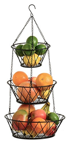 Heavy Duty 3-Tier Round Iron Hanging Basket - 25in Long / Powder coated in Black X Pattern